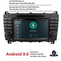 7 2 DIN Android 9.0 Car DVD GPS For Mercedes/Benz W203 W209 W219 A Class A160 C Class C180 C200 CLK200 radio stereo dab Camera