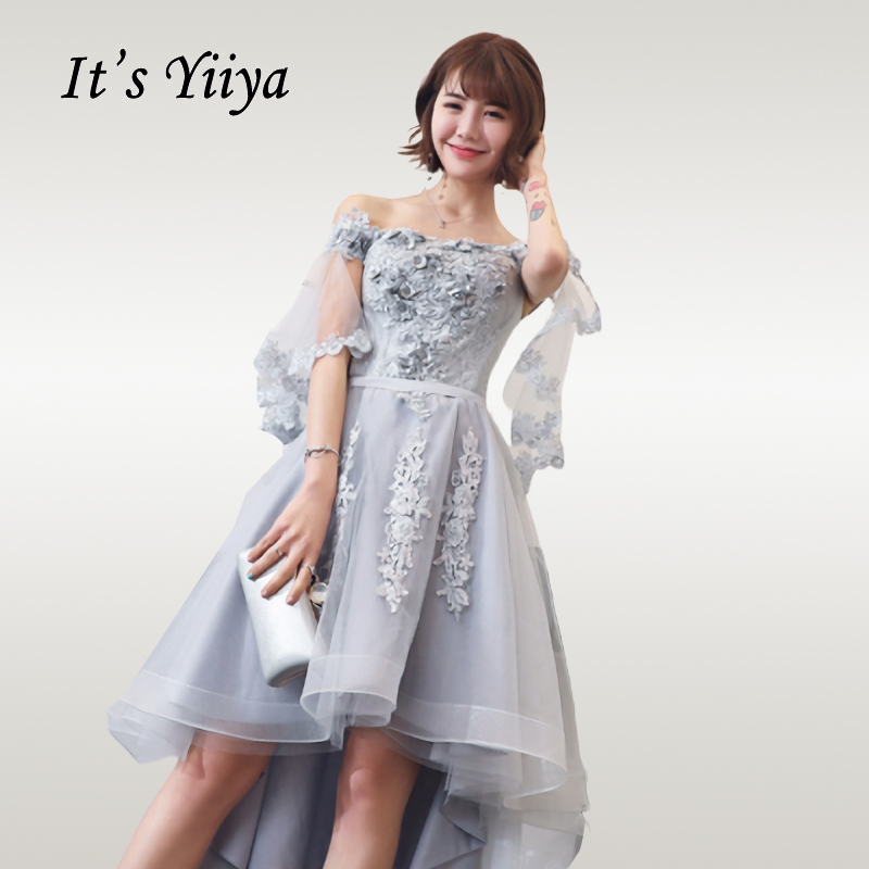 It's Yiiya   Cocktail     Dress   Elegant High Low Length Woman Party   Dresses   Off Shoulder Flowers Gray Robe   Cocktail   Gowns E708
