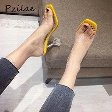 Pzilae/модные дизайнерские Шлепанцы из ПВХ на высоком каблуке; женская обувь с открытым носком; прозрачные женские шлепанцы на необычном каблуке; Летние босоножки без задника