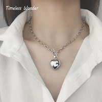 Timeless Wonder 925 Sterling Sliver Solid Heart Chunky Charm Choker Necklace Women Jewelry Gothic Top Ins Punk Kpop chains 7166