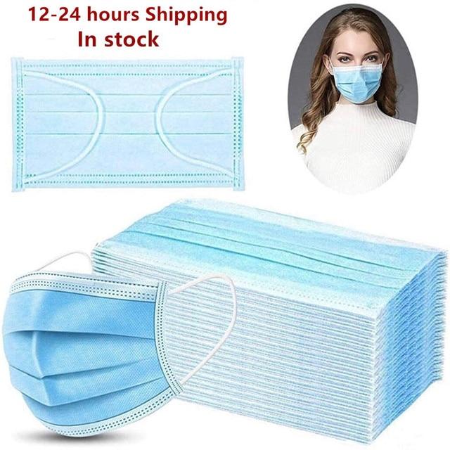פנים להגן על 3 שכבה לא ארוג Meltblown נגד זיהום חד פעמי מסכות נגד זיהום בטיחות אבק Masque מהיר חינם