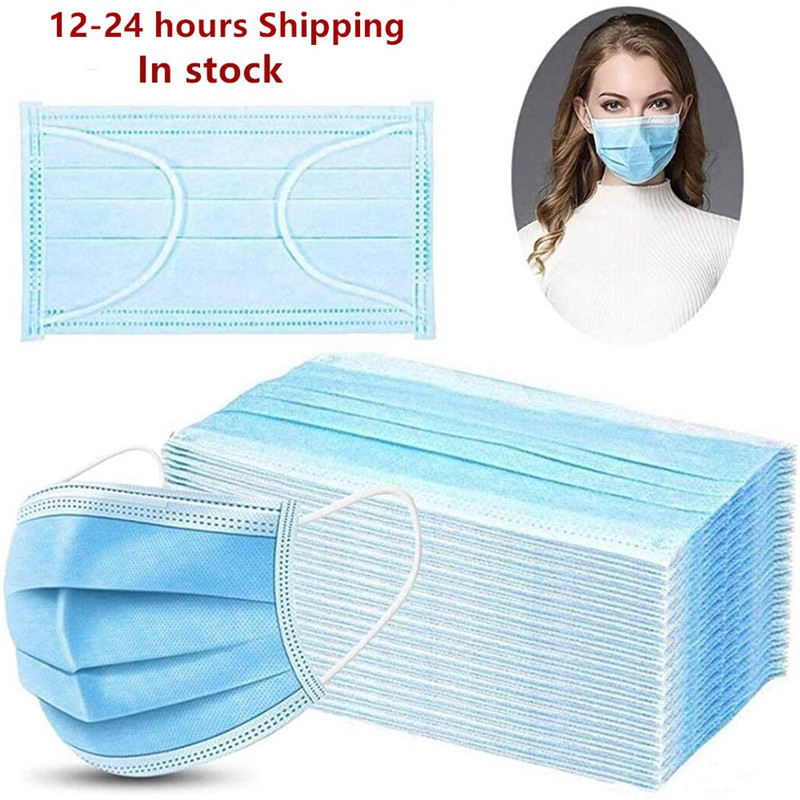 Face Mask Protect 3 Layer Non woven Meltblown Anti Pollution Disposable Masks Anti Pollution Safety Dust Masque Fast ShippingWomens Masks   -