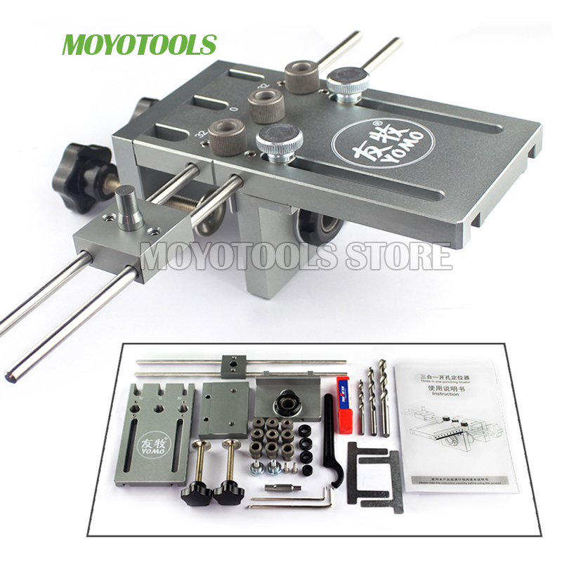 Dowelling Jig Locator Woodworking-Drill Furniture Fast-Connecting Punching for 3-In-1