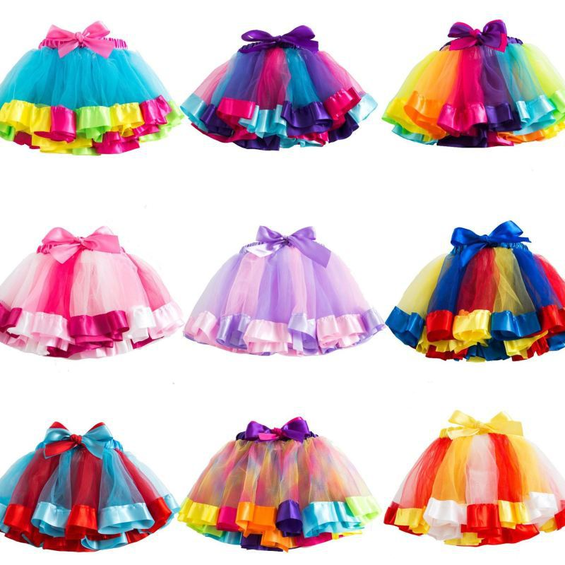 Adult Rainbow Tutu Skirt Women Tutu Cosplay Dress Gi