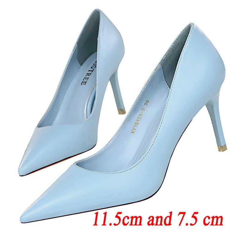 Women 7cm Mid Heel Court Shoes Faux Leather Pointed Toe Party Pumps US Sz 4~10.5