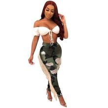 Echoine Camo Print Plus Size Pencil Pants Women Slim Bodycon High Waist Elastic Trousers Fringe Streetwear camouflage Pants