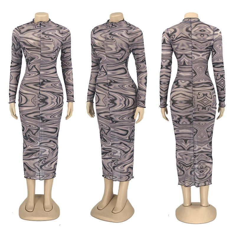 ANJAMANOR Seksi Mesh Gaun untuk Wanita 2020 Fashion Cetak Lengan Panjang Bodycon Maxi Gaun untuk Pesta Malam Club Wear d6-BF17