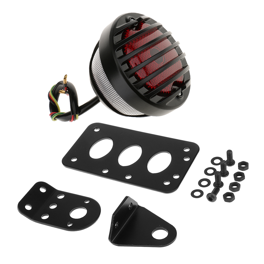 Number License Plate Side Mount Bracket With Rear Tail Brake Light For Universal Motorcycle