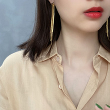 European and American fashion contracted sterling silver 925 women's gold tassel earrings jewelry