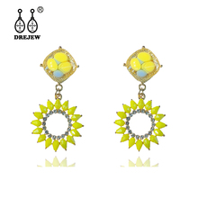 DREJEW Orange Pink Yellow Rhinestone Sun Flower Statement Earring 2019 925 Crystal Alloy Drop Earrings for Women Jewelry HE4021