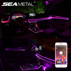 Led Ambient Light Car Atmosphere Lamp El Wire Strip Light RGB Colorful APP Control Car Interior Light With 12V Cigerette Lighter