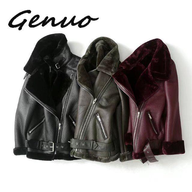 Genuo New 2019 New Winter Women Sheepskin Coats Thicken Faux Leather Fur Female Coat Fur Lining Leather Jacket Aviator Jacket