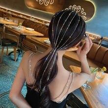 FYUAN parlaklık tam taklidi kafa bandı kadınlar için uzun püskül kristal saç tokası düğün parti saç aksesuarları takı