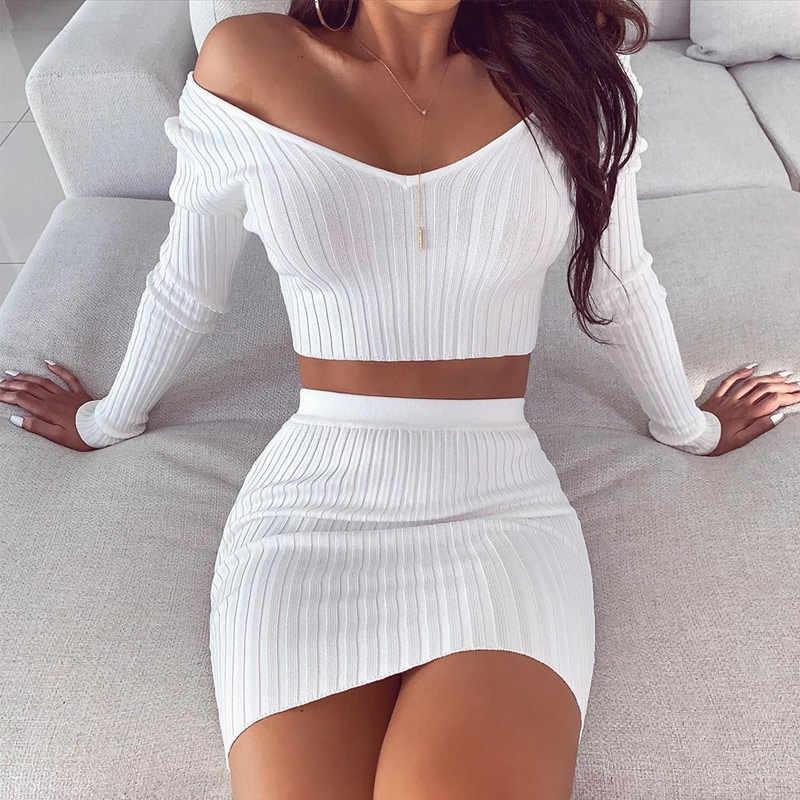 2 stück Set frauen Gestrickte Solide Anzug Off Schulter Crop Top Und Rock Sets Weibliche 2020 Frühling Weiß Zwei stück Set Outfits Dame