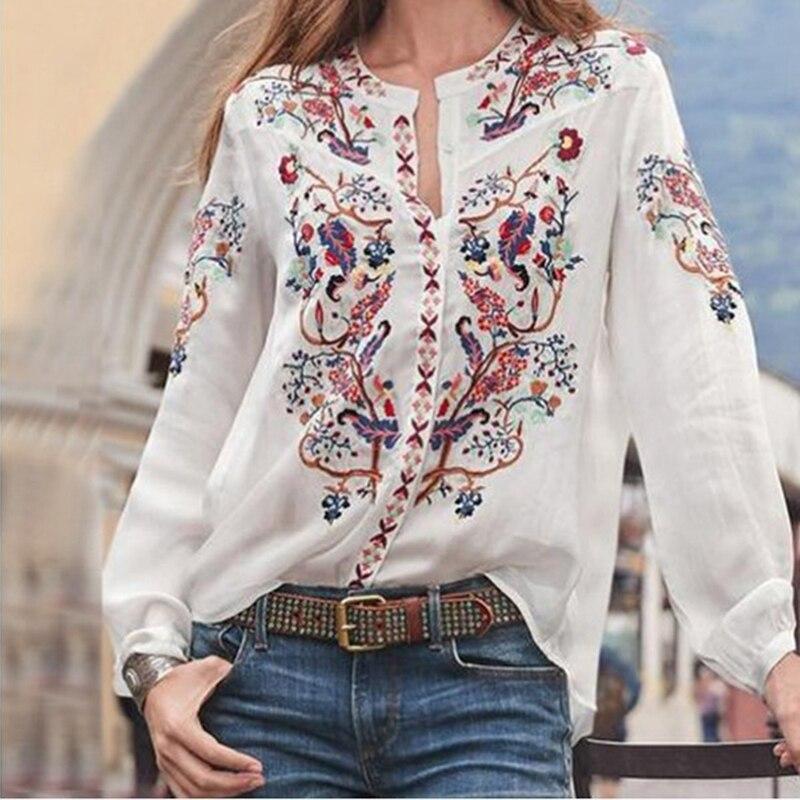 Женская рубашка, новинка, Ретро стиль, длинный рукав, блуза и рубашка, Повседневная, o-образный вырез, печать, сорочка, бикини, мода размера