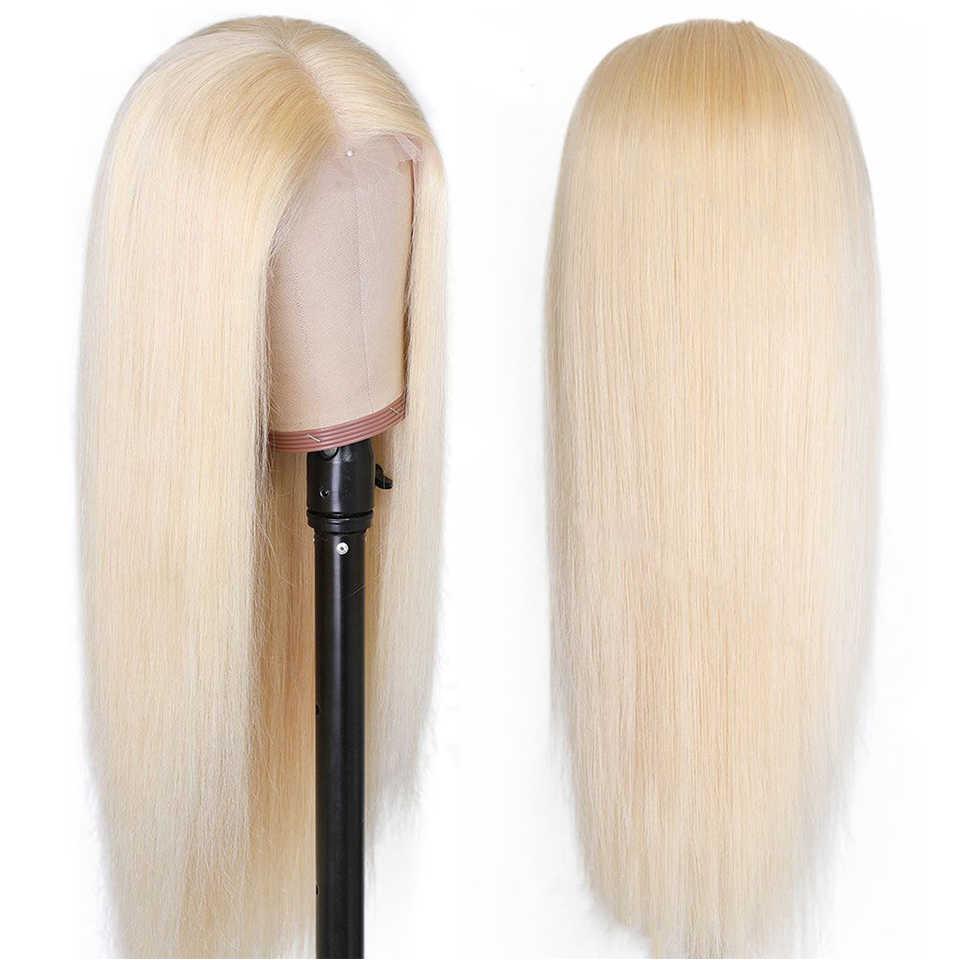 Мёд парик шнурка человеческих волос парики бразильские Прямые предварительно вырезанные 13x1 часть бесклеевого Цвет фронтальной 613 Синтетические волосы на кружеве парики Full Hd