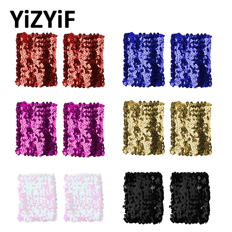 Sequins Oversleeve Women Girls Sparkly Shiny Sequins Stretchy Elastic Oversleeve Arm Sleeve Party Costume Accessory Sequin Cuffs