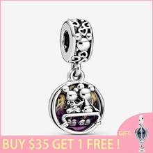 2020 New Arrival S925 Sterling Silver Beads Mouse Happily Ever After Dangle Charms fit Original Pandora Bracelets Women  Jewelry
