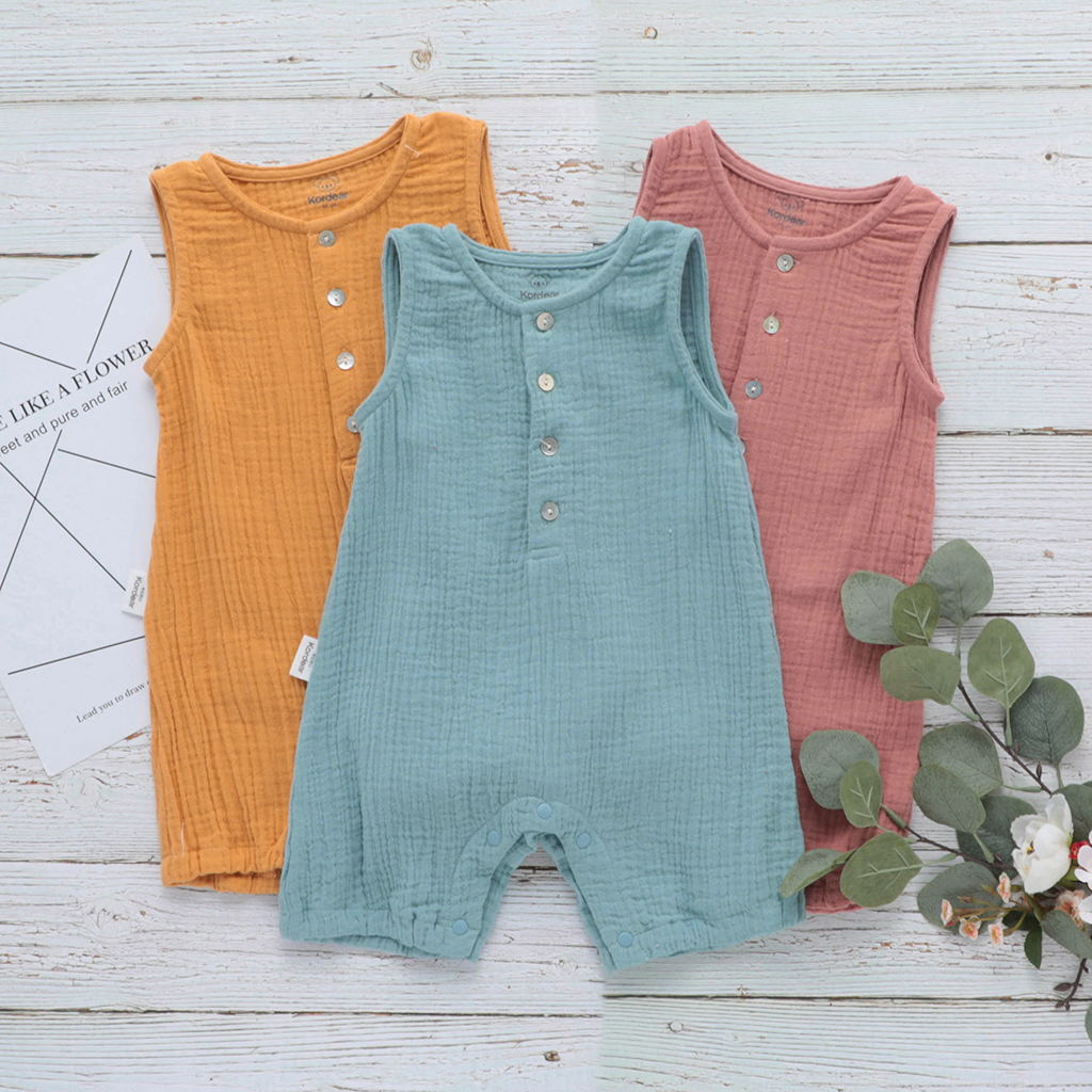 Baby Boys Rompers Organic Cotton Summer 2019 3M 6M 12M 18M Clothes Sleeveless Jumpsuit Solid Rompers Casual Newborn Sunsuit