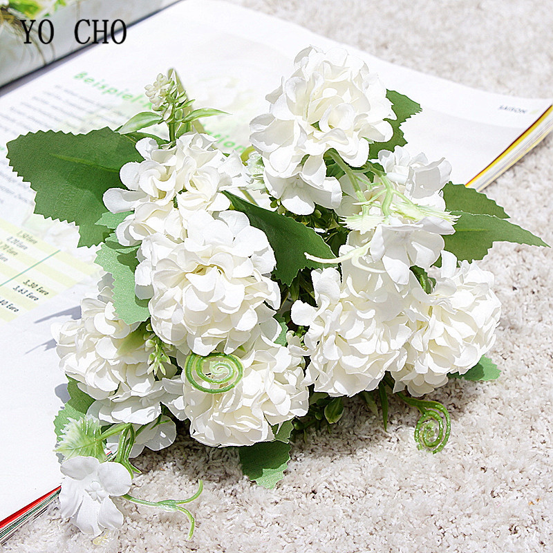 YO CHO Fake Lucky Ball Wedding Flower Artificial Silk Faux Lucky Ball Flower Craft Home Party Decoration DIY Wedding Flowers