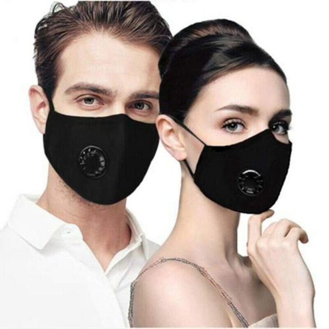 Reusable Face Mask with 2 Filters Pad PM 2.5 Anti-fog Strong Protective Mouth Mask Respirator Dustproof Breathable Mouth Masks 1