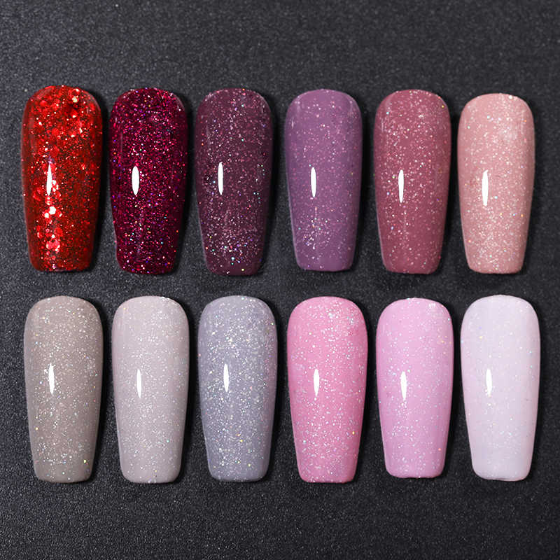 UR SUGAR 7.5Ml Glitter UV Gelเล็บGlitter Sequins Soak Off UV Gel Varnishสีสันเล็บเจลDIY Nail Art
