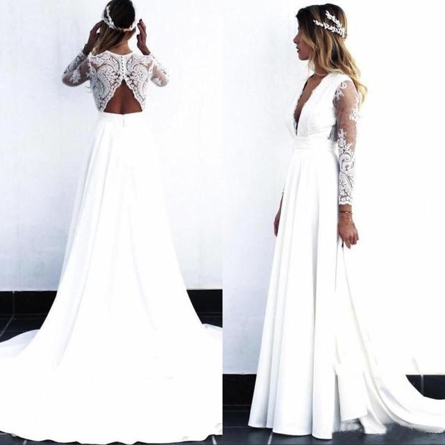 2021 Wholesale Charming White Long Sleeve Bridal Wedding Gowns Lace Deep V Neckline Wedding Dress for Bride Cut Out Back A Line 1