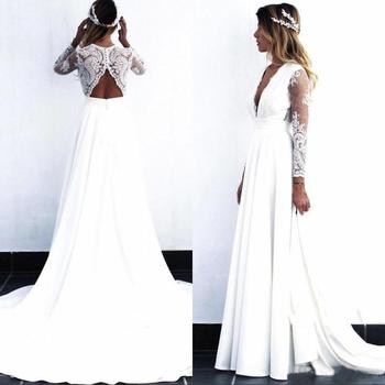 cut out v neckline knot front tee 2021 Wholesale Charming White Long Sleeve Bridal Wedding Gowns Lace Deep V Neckline Wedding Dress for Bride Cut Out Back A Line