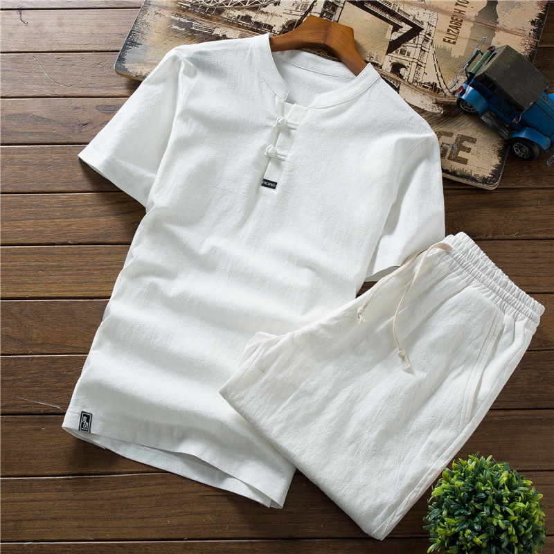 Summer Teenager Set Men's Cotton Linen Short Sleeve T-shirt Large Size Shorts Casual City Youth Versatile Outdoor Men'S Wear