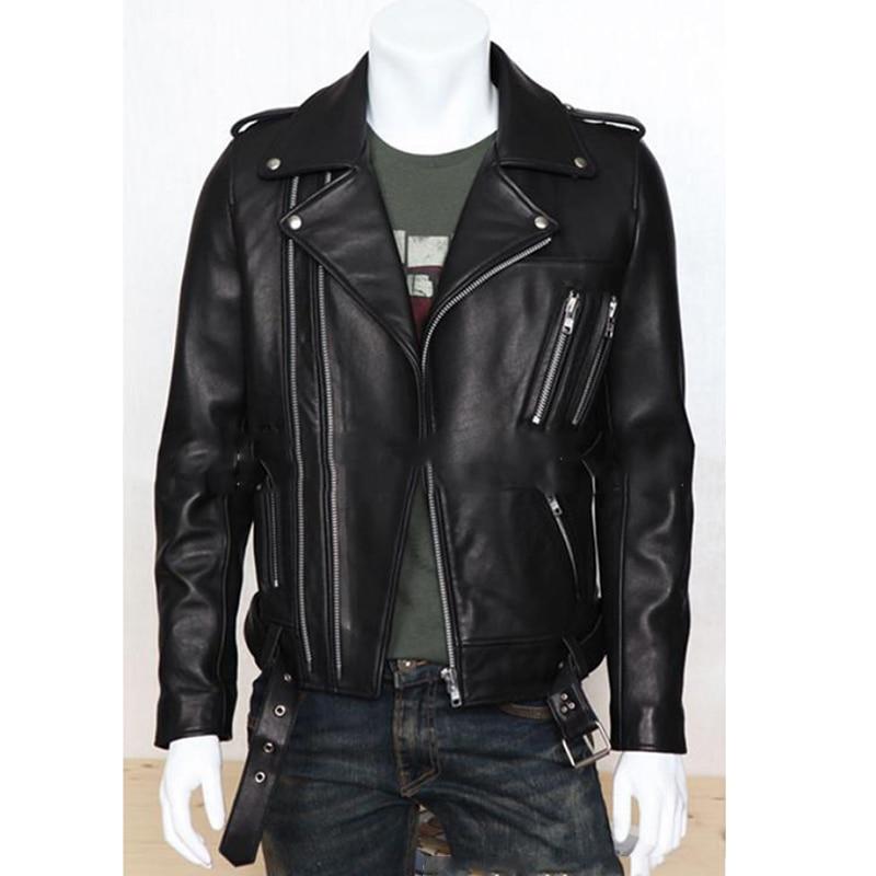 Plus Size PU Leather Jacket Men Autumn Fashion Long Sleeve Stand Collar Jacket Winter Zipper Patchwork Faux Leather Coat