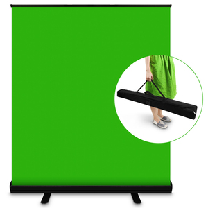 PYNSSEU 110cm*200cm Green Screen Background Collapsible Chromakey Backdrop Aluminium Case For YouTube Video Game Virtual Studio