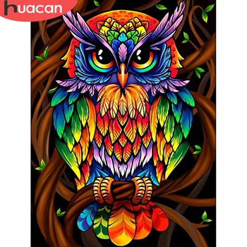 HUACAN Owl Diamond Painting Full Square Embroidery Animals Pictures With Rhinestones Kit Home Decoration - discount item  40% OFF Arts,Crafts & Sewing