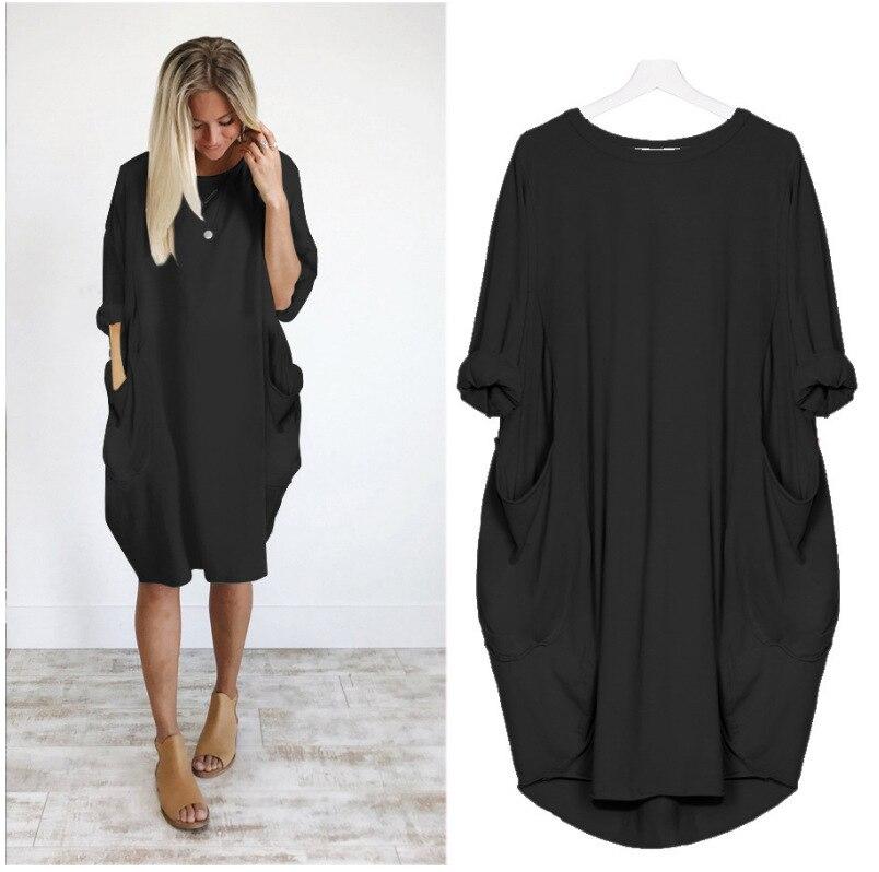 Plus Size 5XL New Women Dress O-neck Long Sleeve Autumn Dress Vintage Loose Casual Party Dresses With Pockets Vestidos De Verano