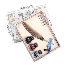Calligraphy-Set for Beginner Students Commerce-Site 40JB Brass-Holder 3-Ink-Bottle Antique