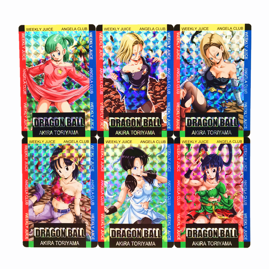 18pcs/set Super Dragon Ball Z Battle Damage Female Character Heroes Refractive Process Card Ultra Game Collection Cards