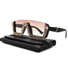 Трендовые 2020 Стразы квадратные солнцезащитные очки для женщин