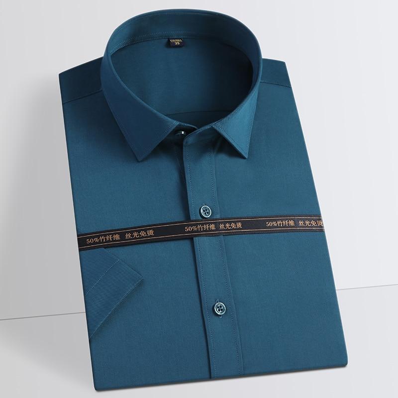 Men's Classic Stretch Short Sleeve Bamboo Fiber Shirts Pocket-less Design Regular-fit Formal Business Solid Easy Care Shirt
