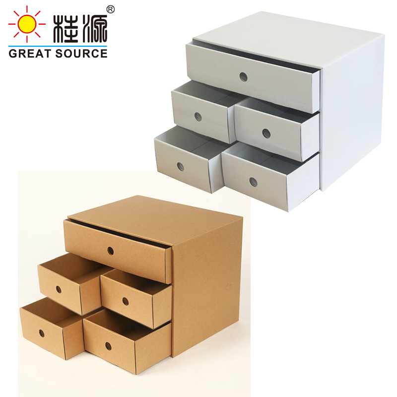 5 Drawers Storage Composable Cabinet Office Corrugate Foldable Home Storage Kraft Paper Environment Friendly(2PCS))
