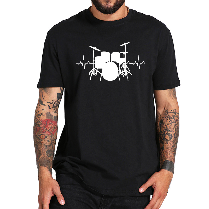 Jazz Drum Kit T-shirt Men Funny Heartbeat T Shirts Rock And Roll Music Festival Camiseta 100% Cotton Black White Tops EU Size
