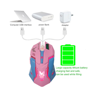 Pink Wireless Computer Gaming Mouse Rechargeable Optical Mice 2400 DPI Ergonomic USB Cute PC Gamer Office Mause For Girls Purple 3