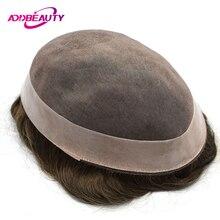 AddBeauty człowiek peruka systemy wymiany Mono NPU Handmade mężczyźni peruka Hairpiece 30mm fala naturalne Remy indyjski ludzki włos 6 Cal