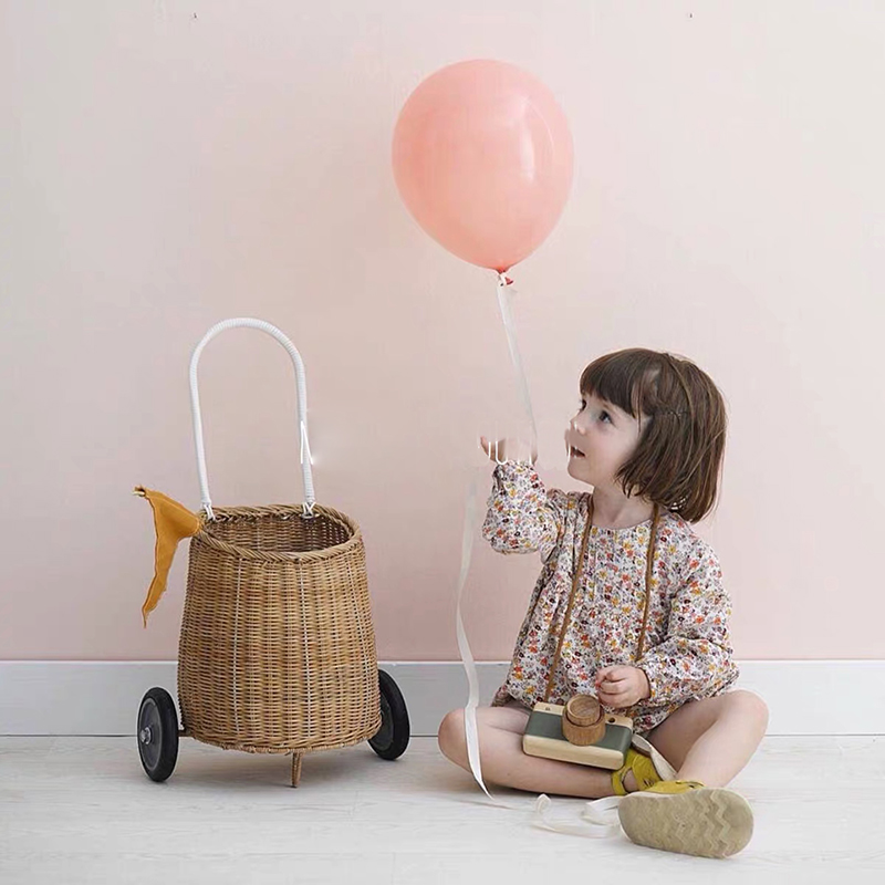 Children's Photography Props Trolley Pull Car Nordic Wind Pull Car Straw Pull Car Children Photo Props Outdoor Props