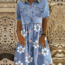 Летнее платье из джинсовой ткани с цветком на поясе; 2021, женская обувь на каждый день на пуговицах с карманами, синяя футболка с короткими ру...