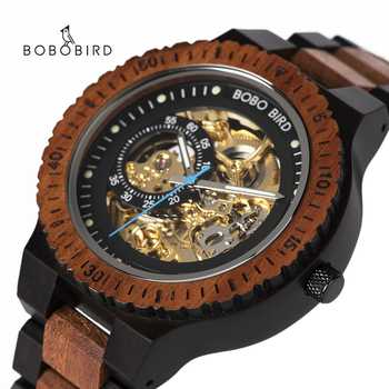 Bobo Bird Luxury Men's Watches 2020 Mechanical Watch Men Wooden Hollow Male Watch For Man Luminous Wristwatch Top Brand