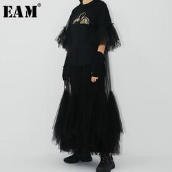 [EAM] Women Black Mesh Ruffles Long Bigs Size Dress New Round Neck Half Sleeve Loose Fit Fashion Tide Spring Summer 2020 JR771