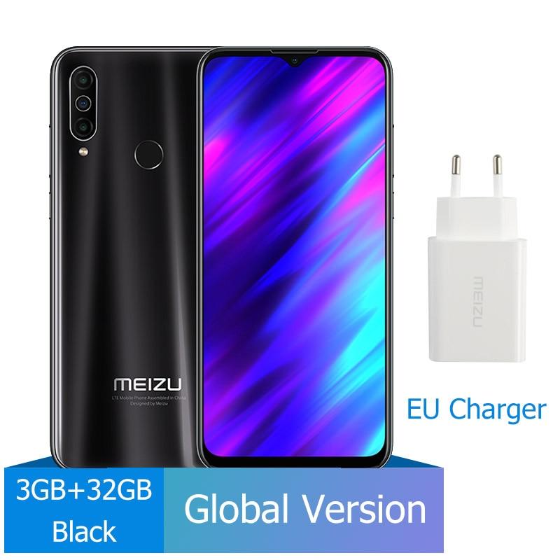 Новое поступление Meizu M10, глобальная версия, 3 ГБ, 32 ГБ, MTK P25, четыре ядра, тройная камера, Android телефон, 4000 мАч, большая батарея - Цвет: 32G Black