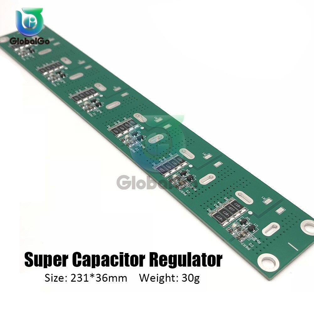 Super condensador de faradio tablero de protección del regulador de voltaje para 6 uds 2,5 V-3 V 360-700F accesorios para condensadores de la serie de pie plano