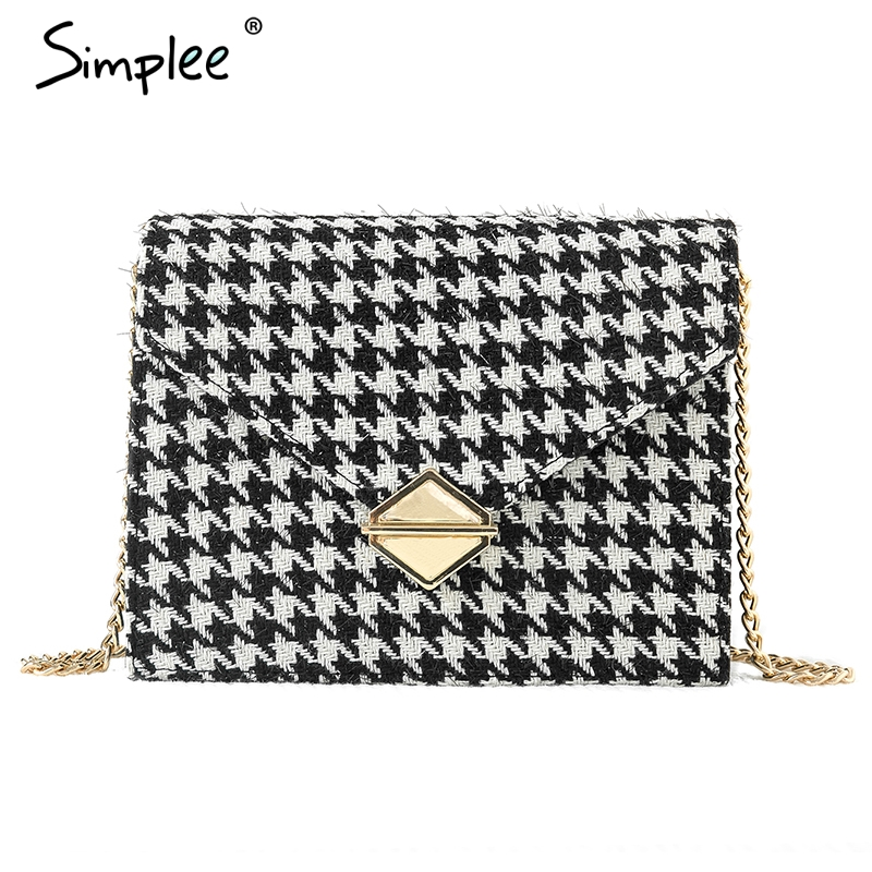 Simplee Luxury Women Shoulder Bag Elegant Plaid Pocket Leather Bags Office Lady Autumn Winter Fashion Travel Crossbody Hand Bag