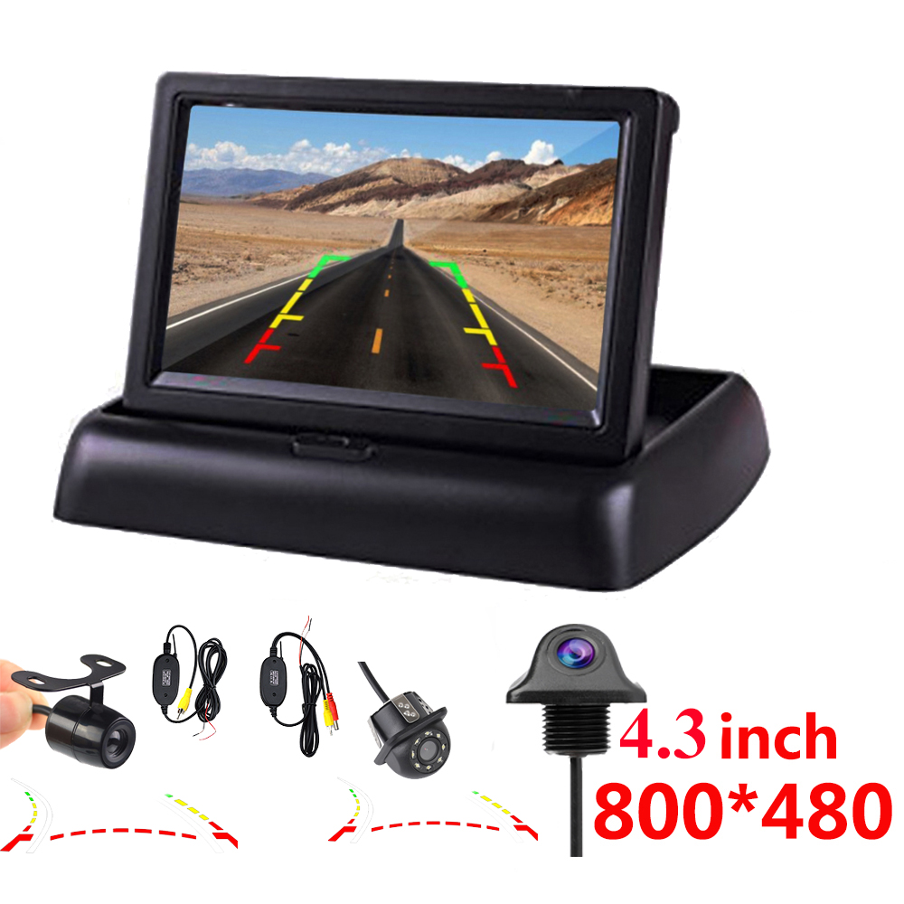 Auto Parking Assistance New 4LED NIGHT Car CCD Rear View Camera With <font><b>4.3</b></font> <font><b>inch</b></font> Color LCD Car Video Foldable <font><b>Monitor</b></font> Camera image