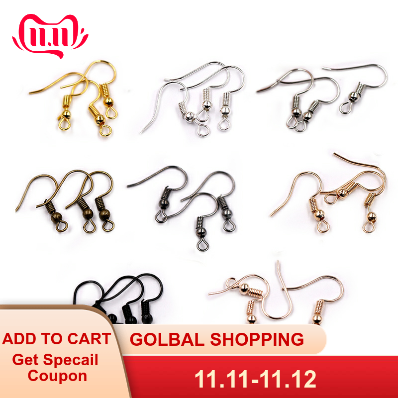 200Pcs Mixed Rose Gold Silver Gold Black Metal Earring Hooks For Jewelry Making Diy Earring Handmade Accessories Wholesale